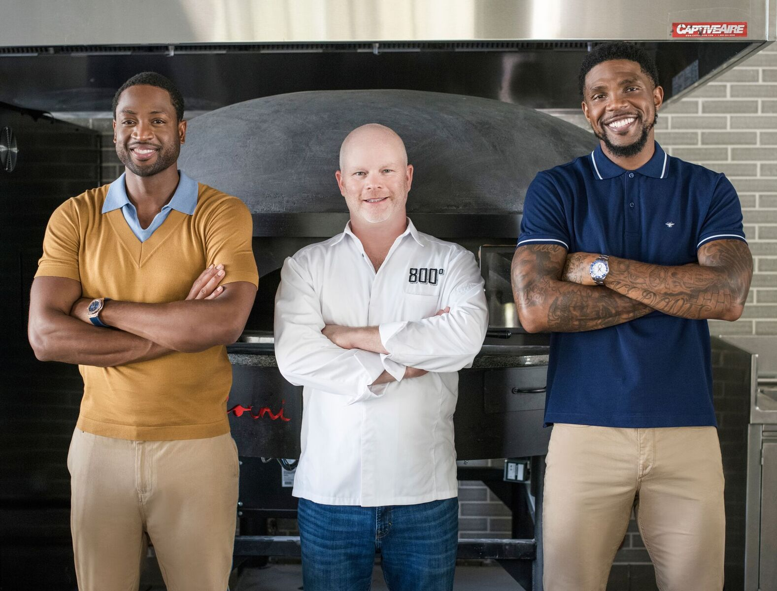 Chef Anthony with Dwyane Wade and Udonis Haslem